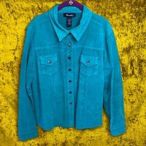 Denim&Co Vintage Teal Blue Suede Snap Jacket szXL